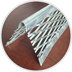 One angle corner bead has two flanges with extra reinforcing strip for strengthening and round nose for corner shaping.