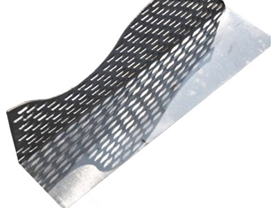 One aluminum alloy angle bead with a cambered edge of the flange, also a flatten plate flange.