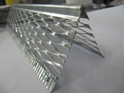 An expanded angle bead with raised expanded metal wings attached with the extra strip and a round nose.