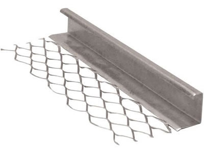 One galvanized steel expansion bead with the stainless steel wing and the big return for corner edge protection.