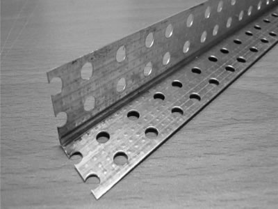 This is a metal angle bead of galvanized surface treatment which has two metal flanges and a small nose.