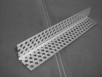 Here is a metal corner bead without nose, just two wide perforated flanges of 90 degree angle.