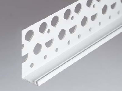 It is an UPVC render stop bead consists of a wide flange with irregular holes and a small return.
