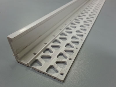It is a vinyl plaster stop bead designed with the perforated wing and the straight nose.