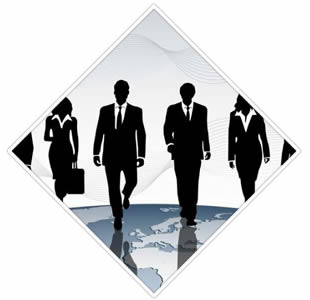 There are six people of uniform clothes walking on the way of production sales.