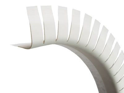 Here is a ultrathin vinyl bullnose corner bead with slotted edge of archway shape in white.